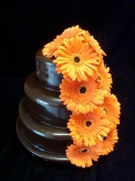 chocolate ganache icing with orange flowers