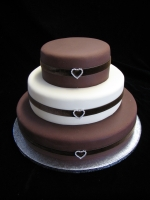 layers of cake tiers with chocolate icing